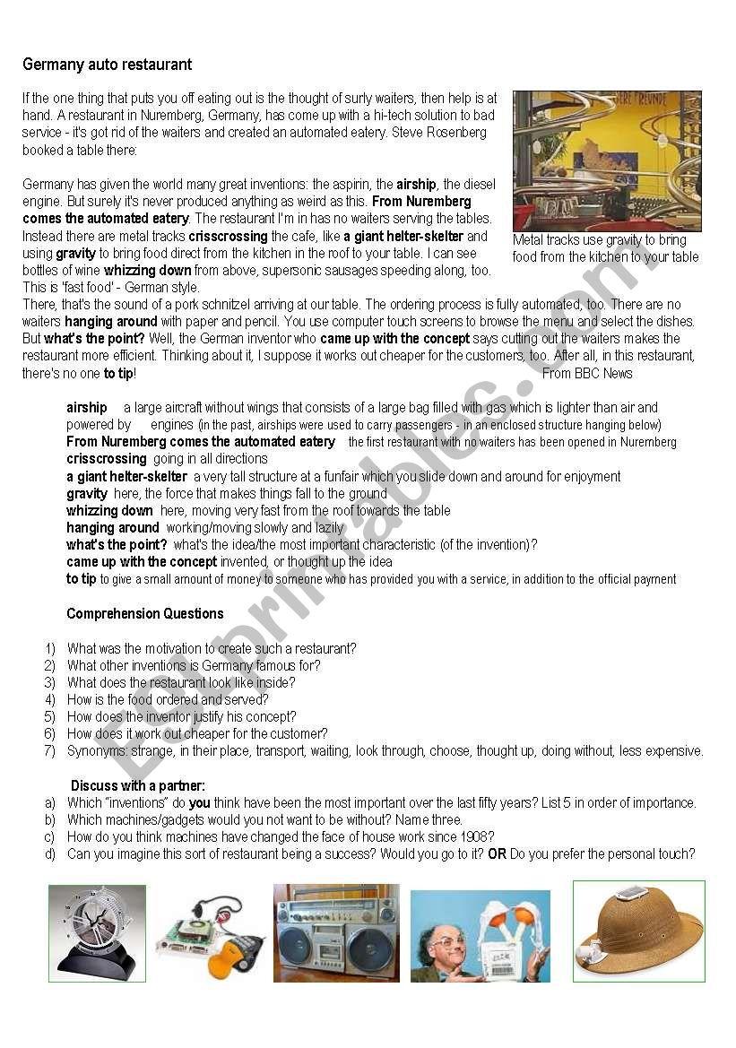 Inventions - ESL worksheet by Amanda W