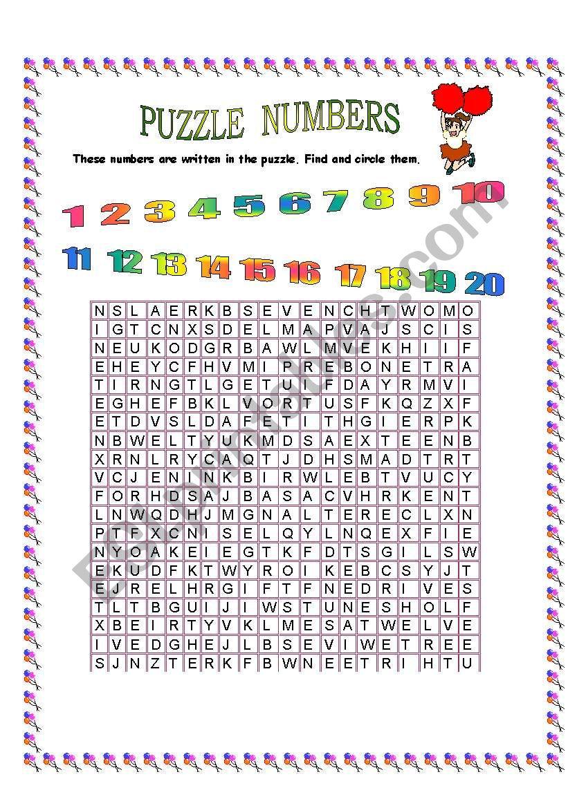 puzzle numbers worksheet