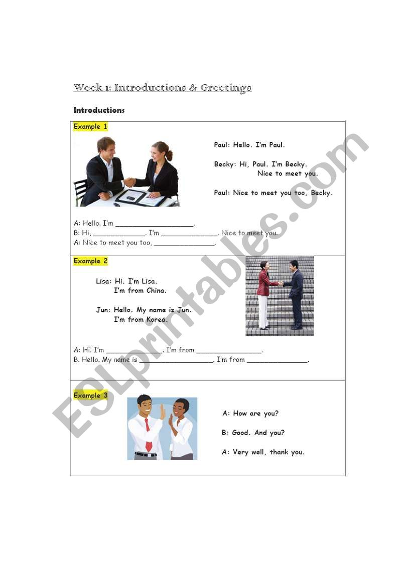 Introductions worksheet