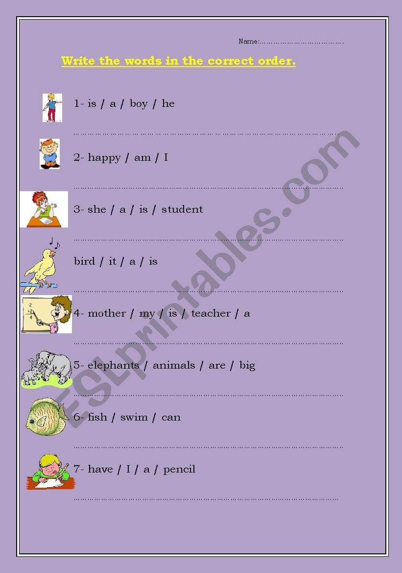 sentence arranging worksheet