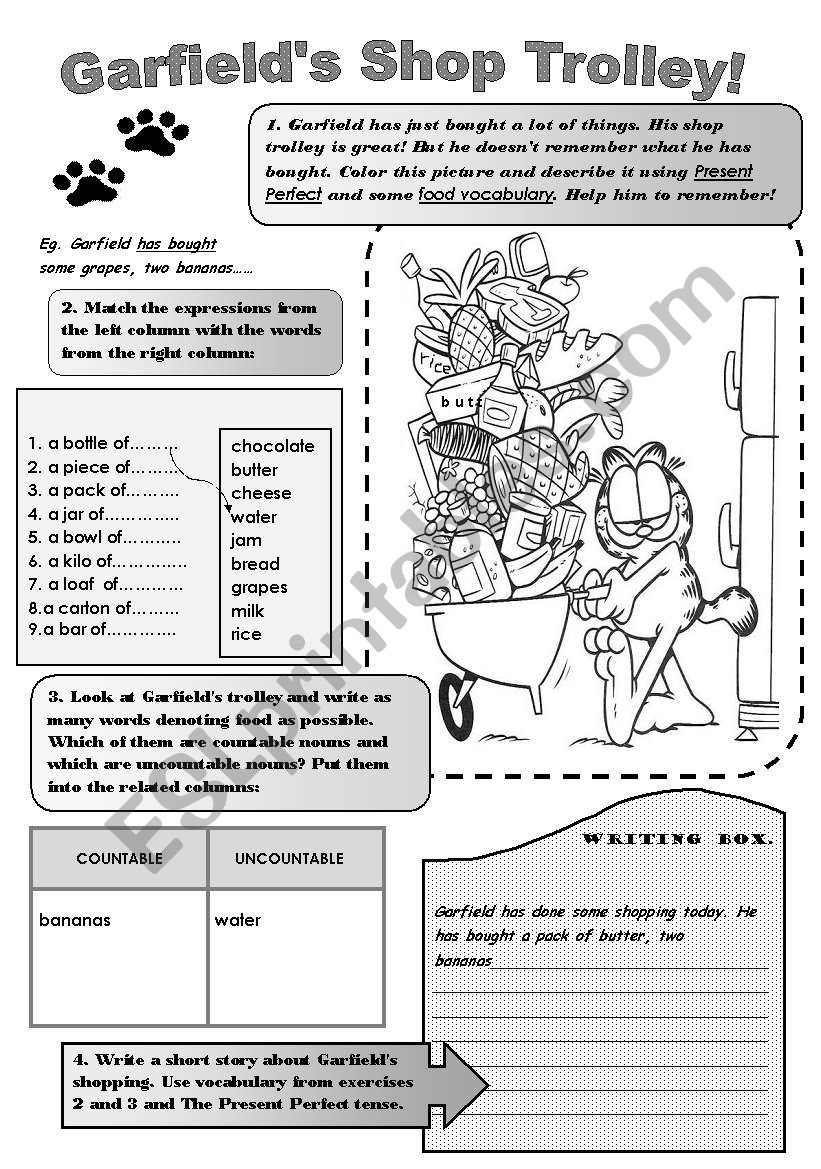 GARFIELDS SHOP TROLLEY! -fun vocabulary and grammar worksheet. Revision or practice of Present perfect ( What has Garfield bought?) and food vocabulary- countable and uncountable nouns.For upper-elementary students