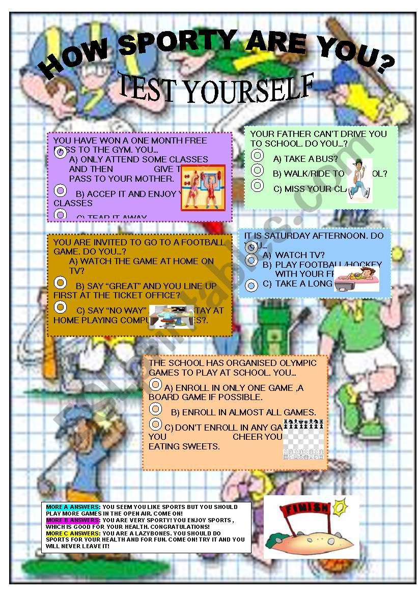 HOW SPORTY ARE YOU? worksheet