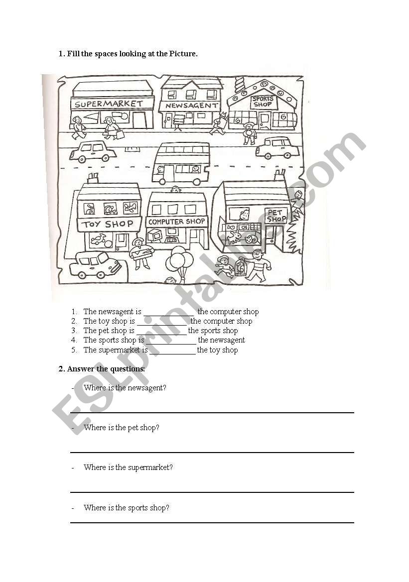 places in a town worksheet