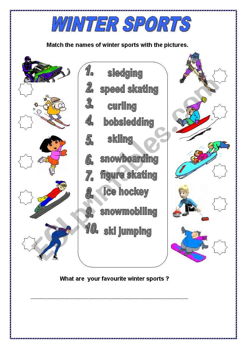 winter sports esl worksheet by salomea winter sports esl worksheet by salomea