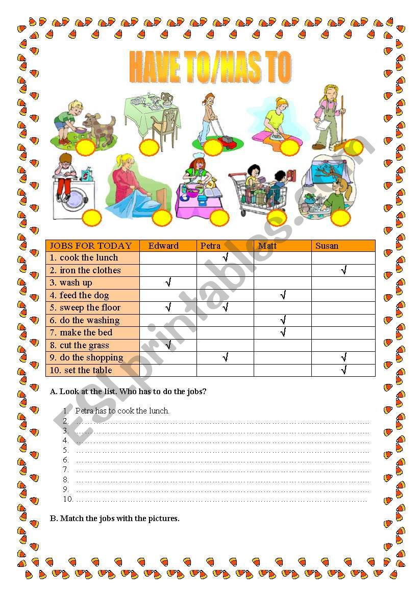 Have to/has to - Housework worksheet