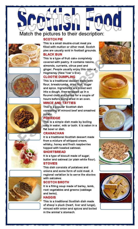 (set 3/8)SCOTTISH FOOD  worksheet