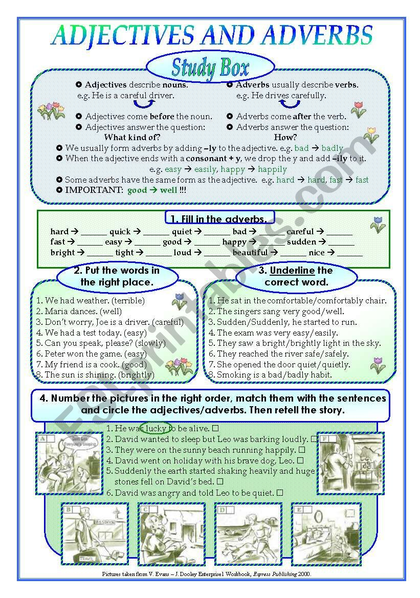 English worksheets: Adjectives and adverbs