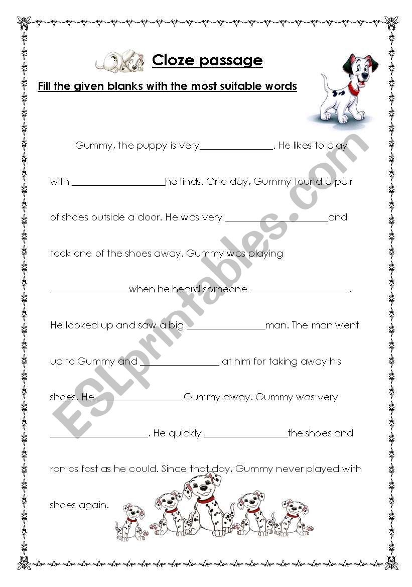 English worksheets: cloze passage