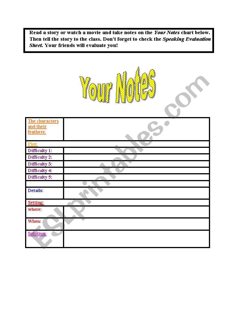 English worksheets: Speaking about a movie with a self assessment rubric