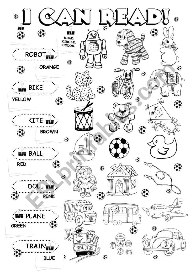 I can read (5/5) - toys worksheet