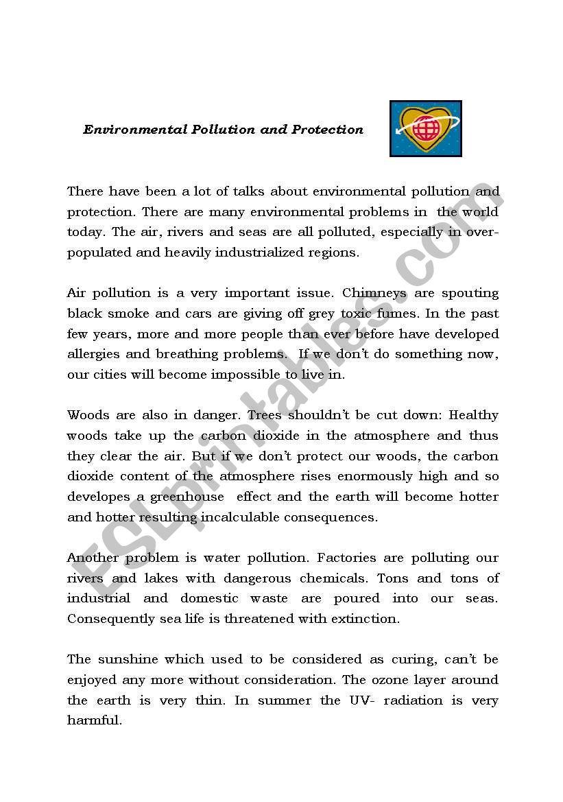 environmental pollution and protection esl worksheet by erika1972. Black Bedroom Furniture Sets. Home Design Ideas