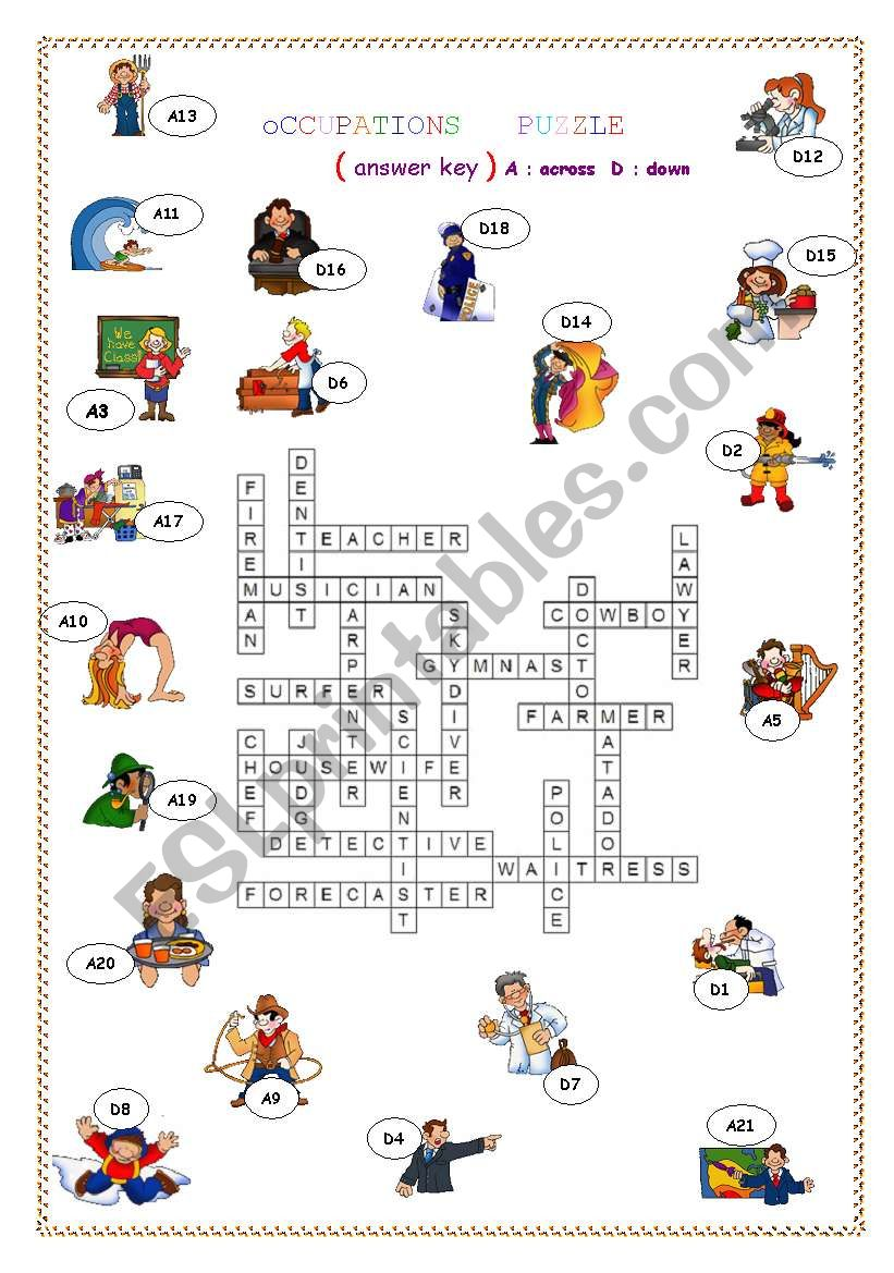 OCCUPATION PUZZLE ANSWER KEY - ESL worksheet by one for all