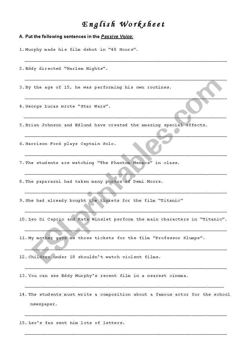 The Passive Voice - ESL worksheet by rangel