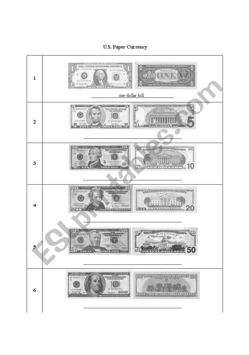 U S  Paper Currency - ESL worksheet by karerurose