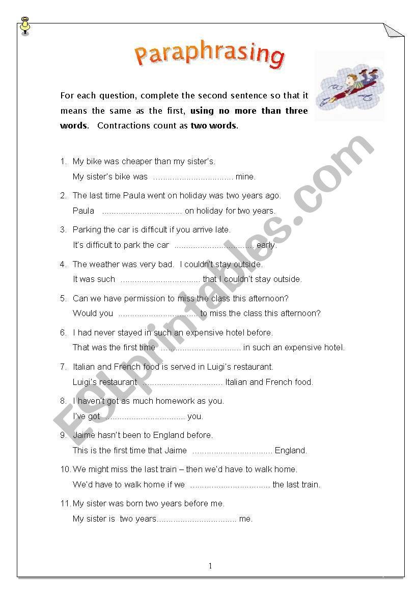 Paraphrasing - 50 sentences worksheet