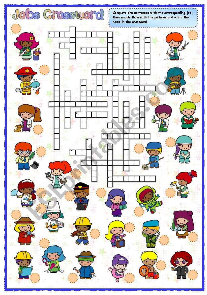 Jobs crossword worksheet