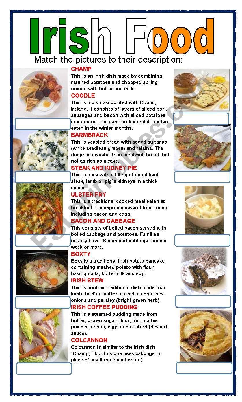 (set 4/8) IRISH FOOD  worksheet