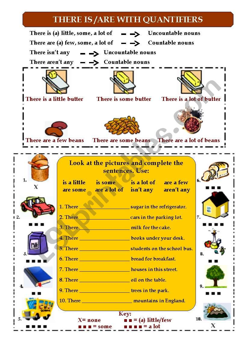 There is - There are with quantifiers (any, some, a lot of, a few, a little)