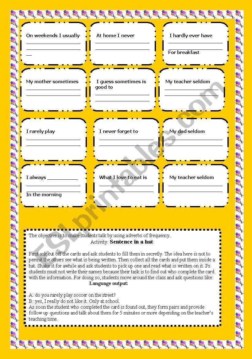 sentences in a hat worksheet