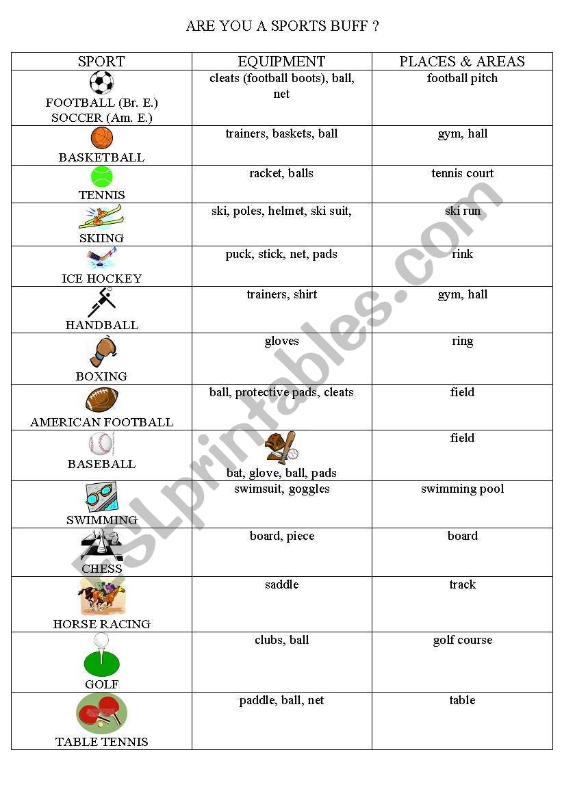 sports equipment and places to play esl worksheet by ivanhoe. Black Bedroom Furniture Sets. Home Design Ideas