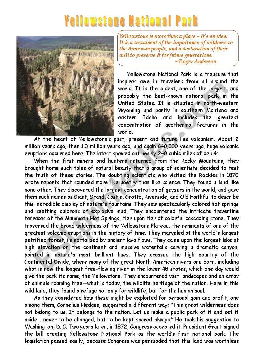 worksheet Yellowstone National Park Worksheets english worksheets yellowstone national park worksheet
