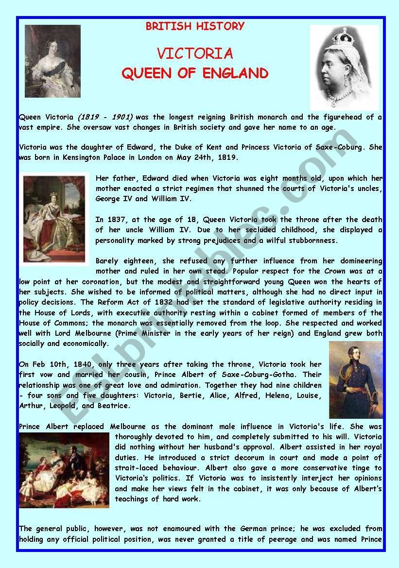 Queen Victoria worksheet