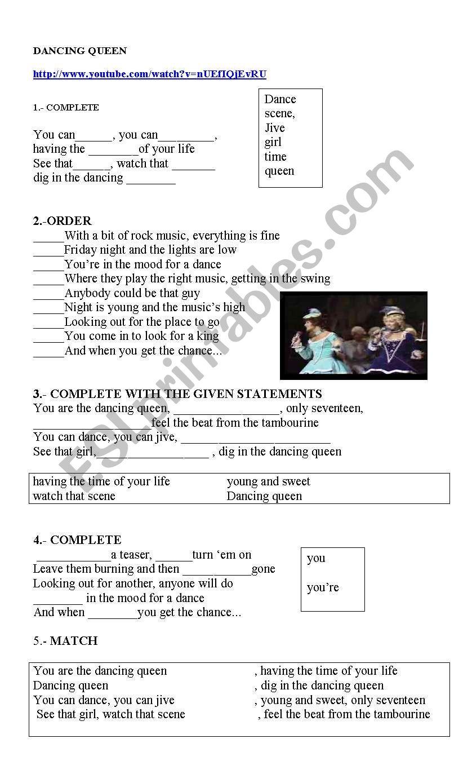 SONG: DANCING QUEEN worksheet