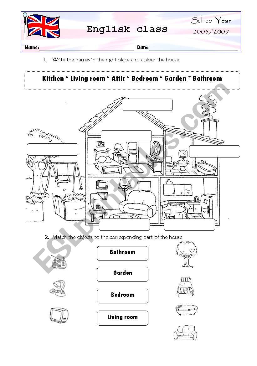 Parts of the house worksheet