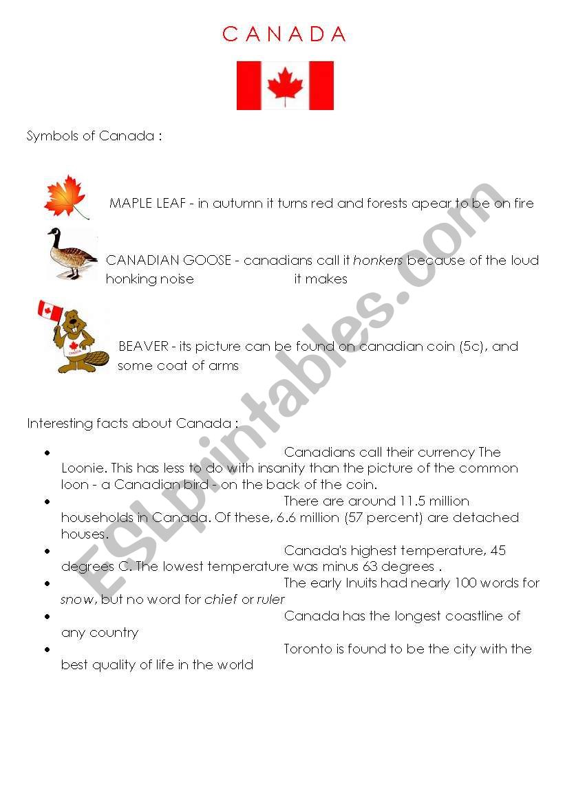 canada symbols  interesting facts esl worksheet
