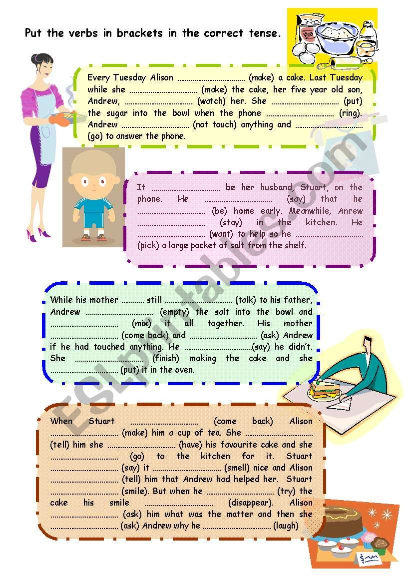 Mixed tenses exercise worksheet