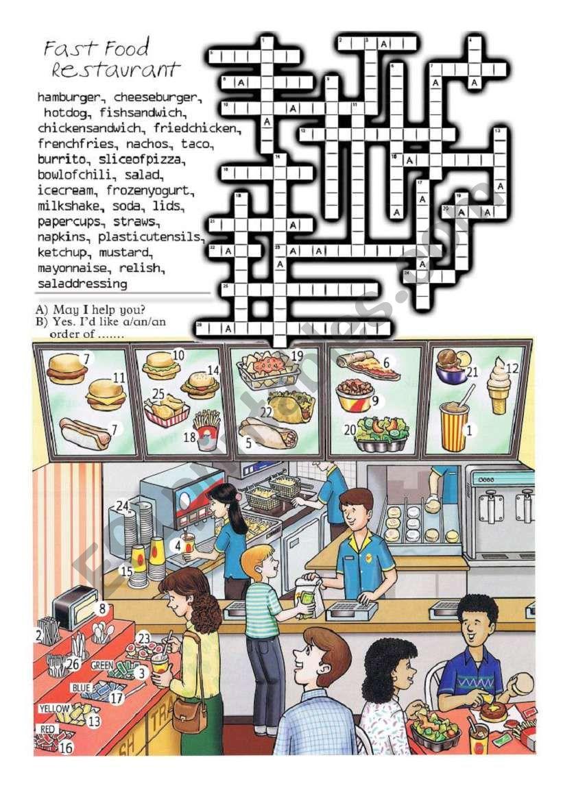 fast food restaurant crossword