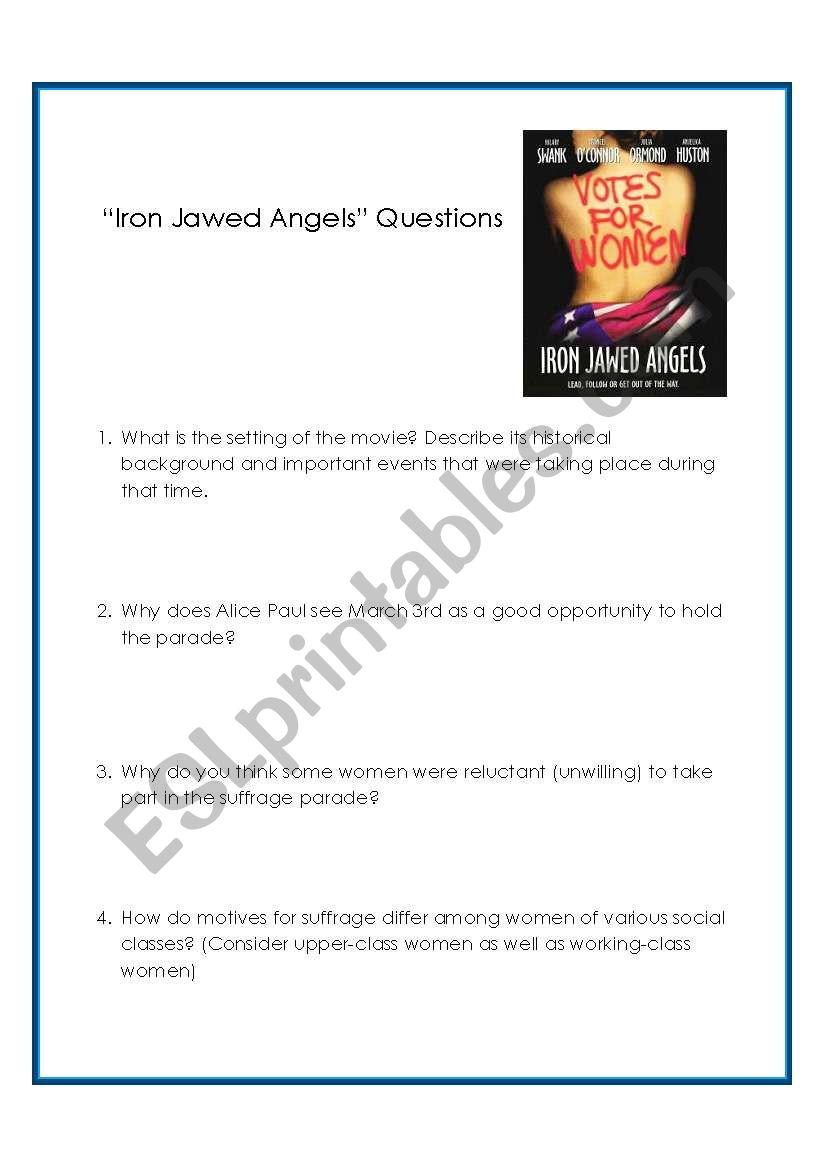 Iron Jawed Angels Worksheet Livinghealthybulletin