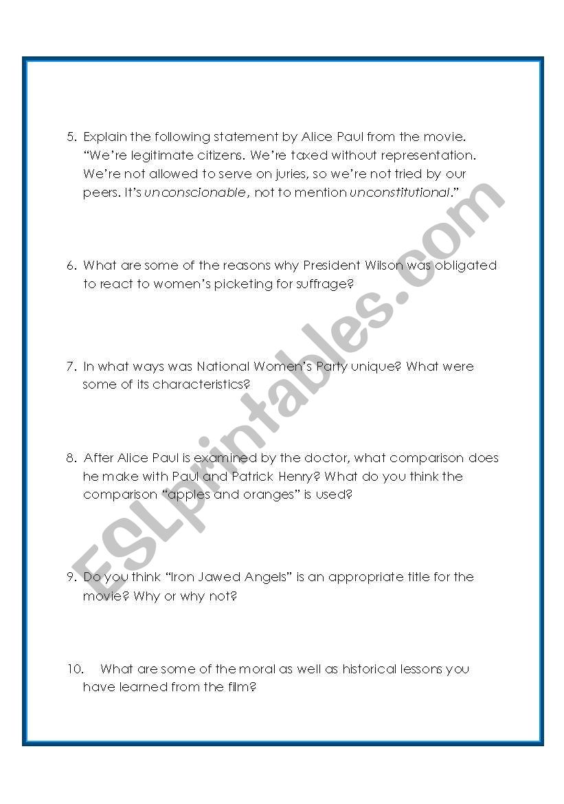 English Worksheets Iron Jawed Angels Questions