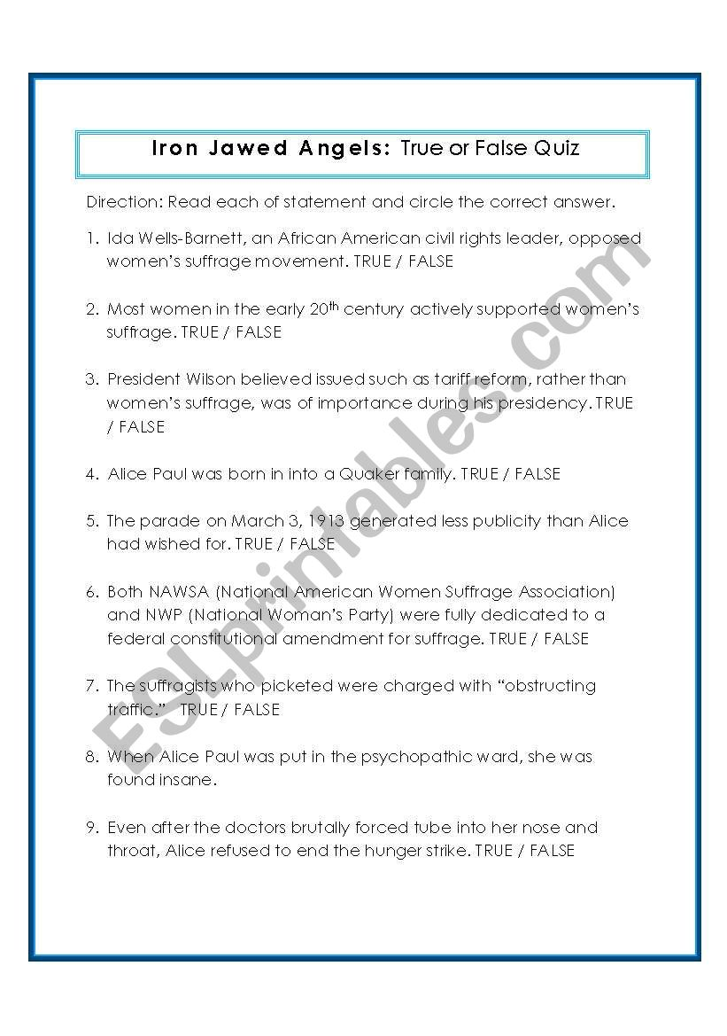 English worksheets: Iron Jawed Angels True/False Quiz with ...