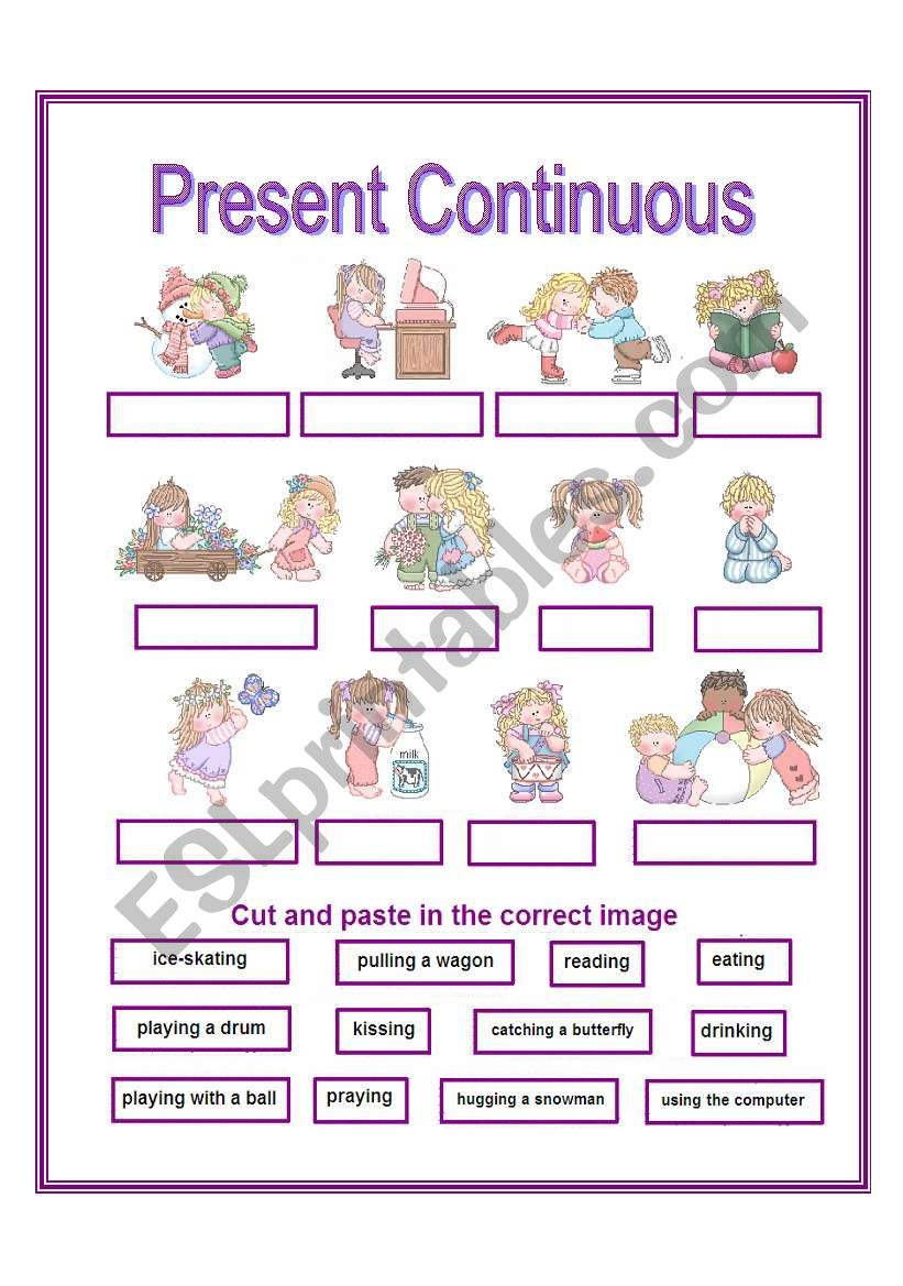 present continuous - cut and paste activity ELEMENTARY - ESL ...