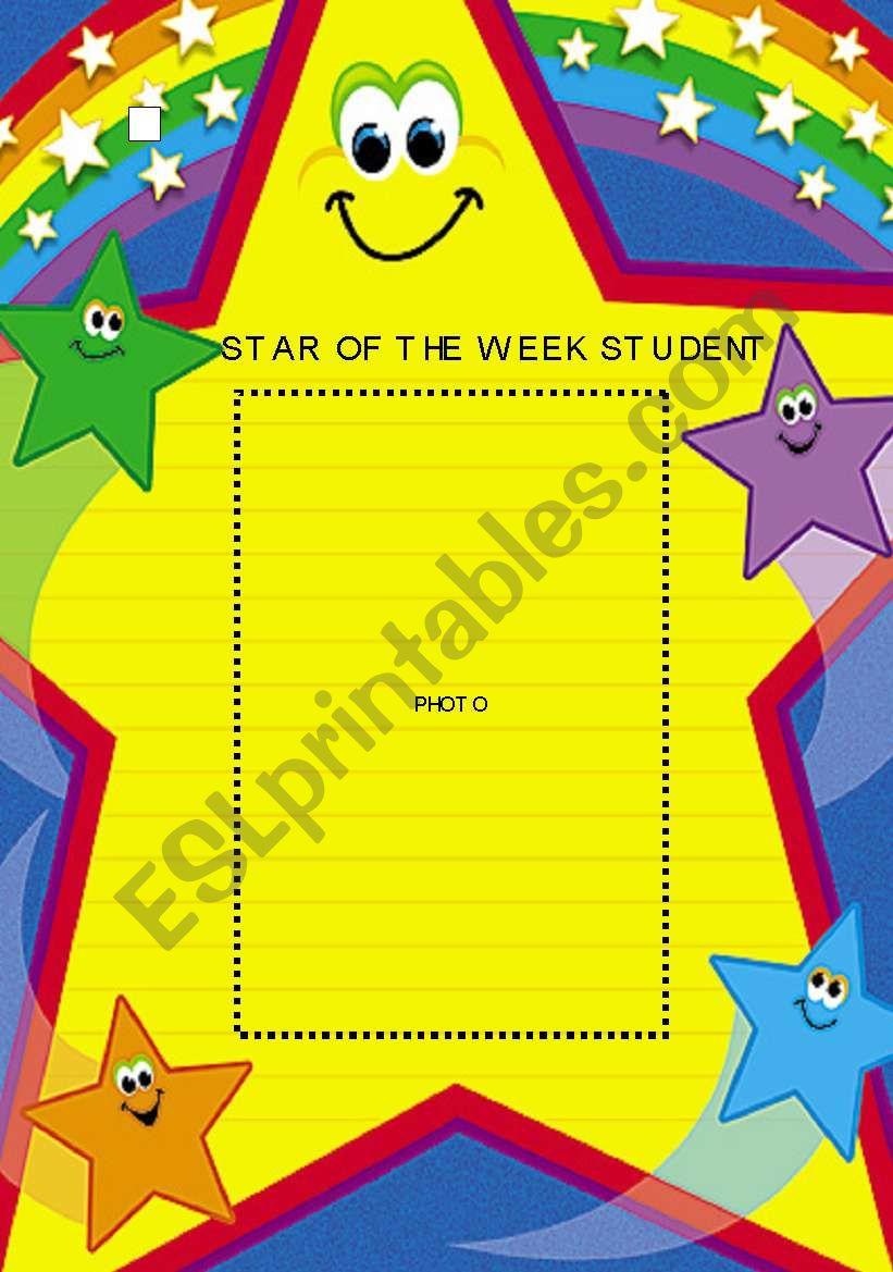 Star Of The Week Student Photo Poster Esl Worksheet By Mandm