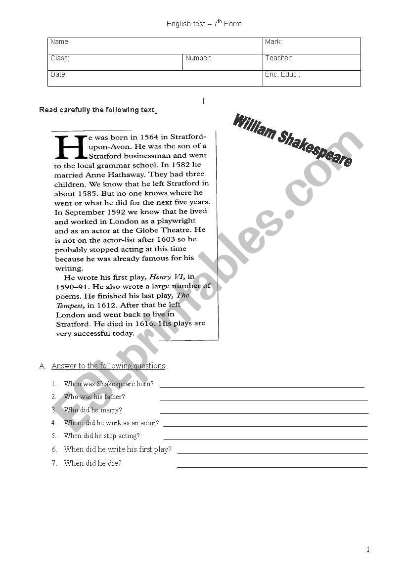 Test about the Past Simple (3 pages)