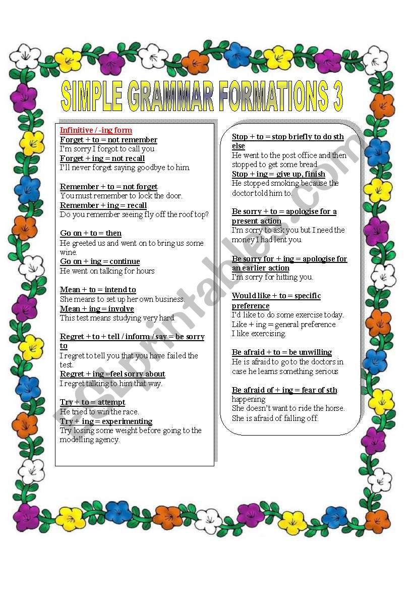 SIMPLE GRAMMAR FORMATIONS worksheet