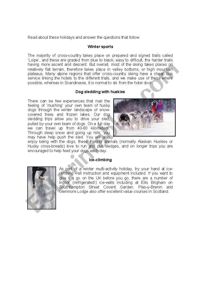 Holidays worksheet