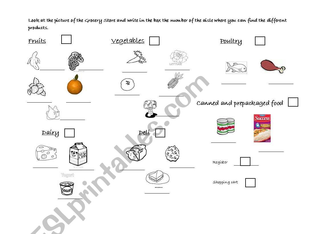 The grocery store page 2 worksheet
