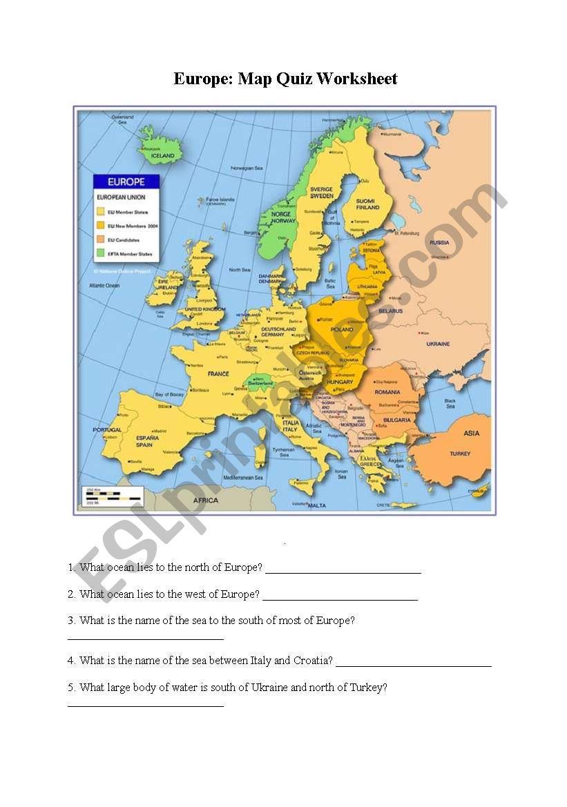 Europe Map Quiz worksheet