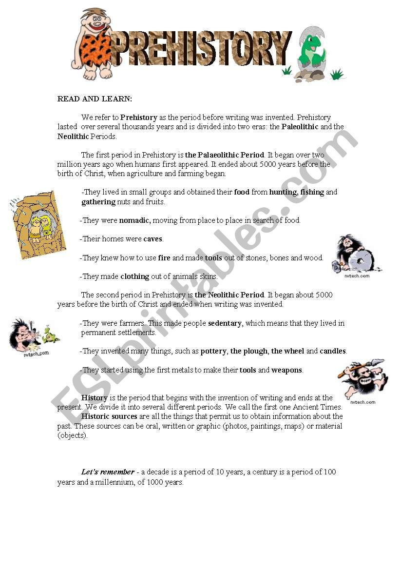 Prehistory worksheet
