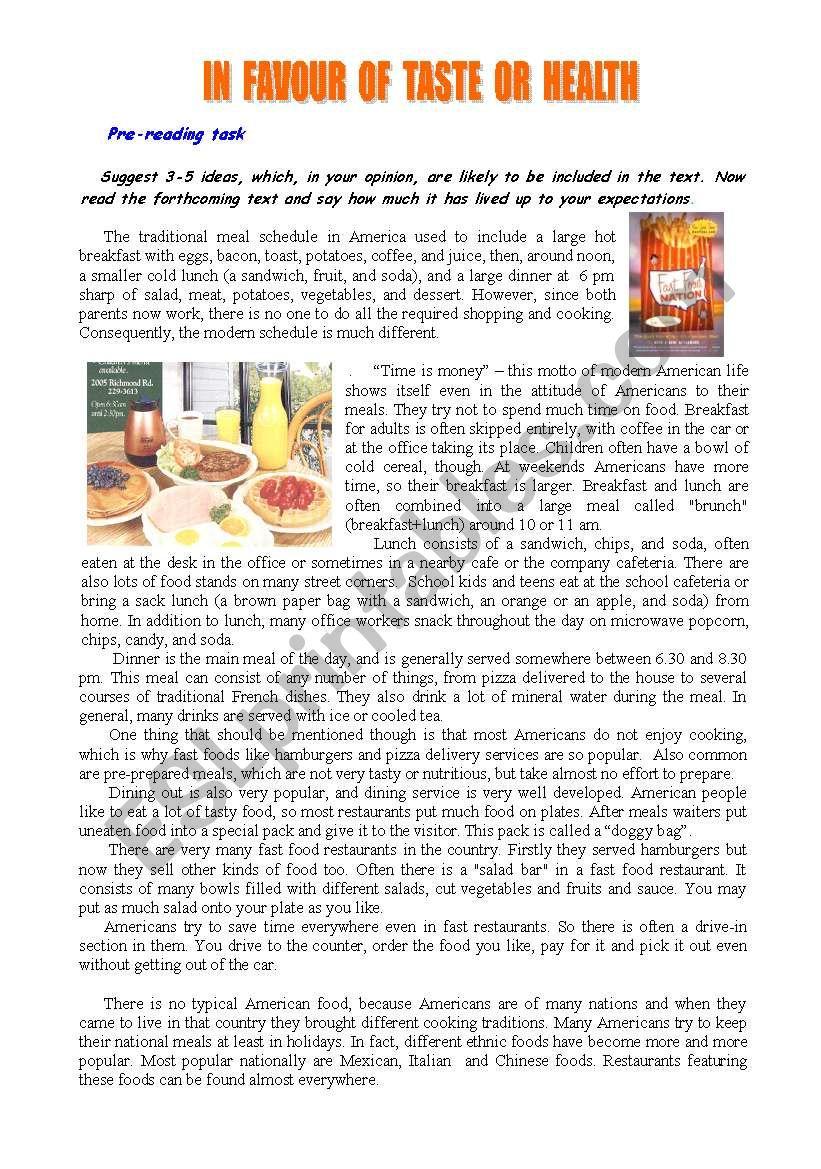 In favour of taste or health worksheet