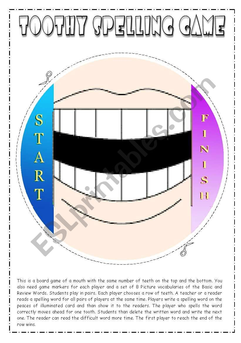 Toothy Spelling Game worksheet
