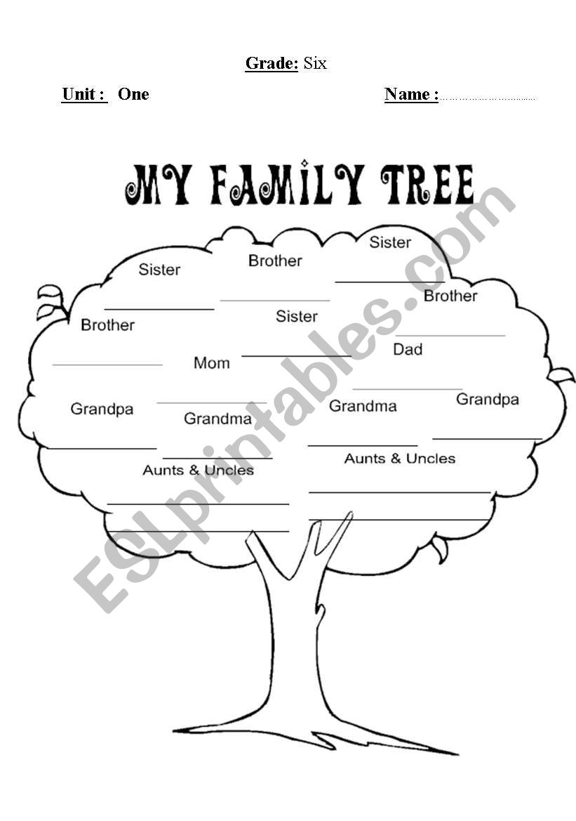 Family Tree Esl Worksheet By Mohammed95