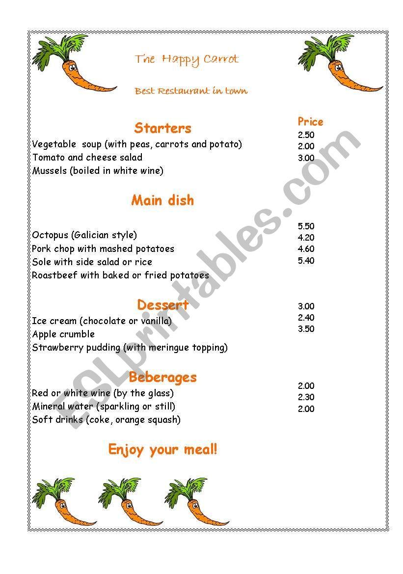 Happy Carrot worksheet