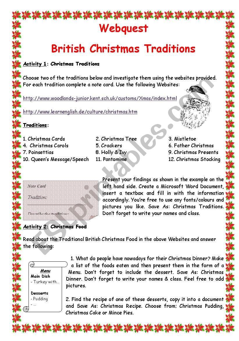 British Christmas Traditions worksheet