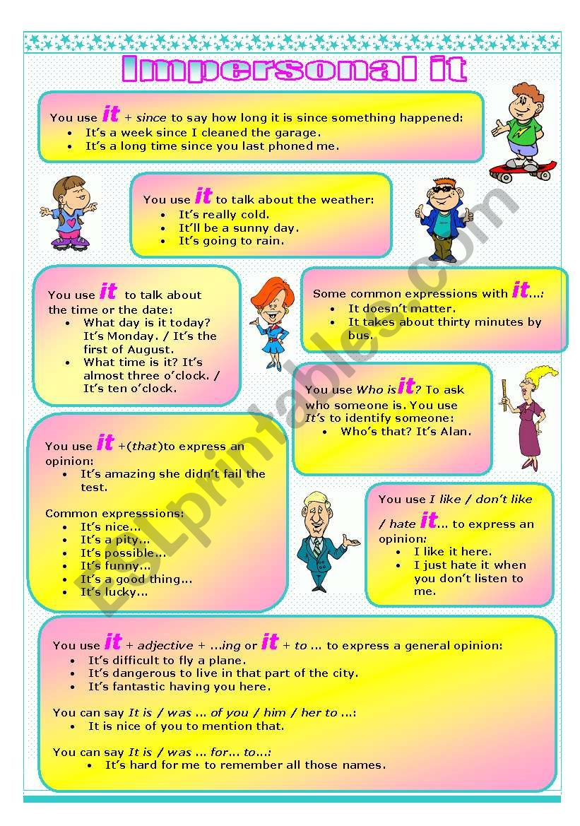 Impersonal ´IT´ -  worksheet