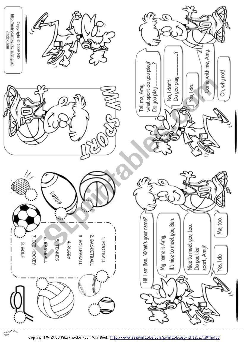 My sport worksheet