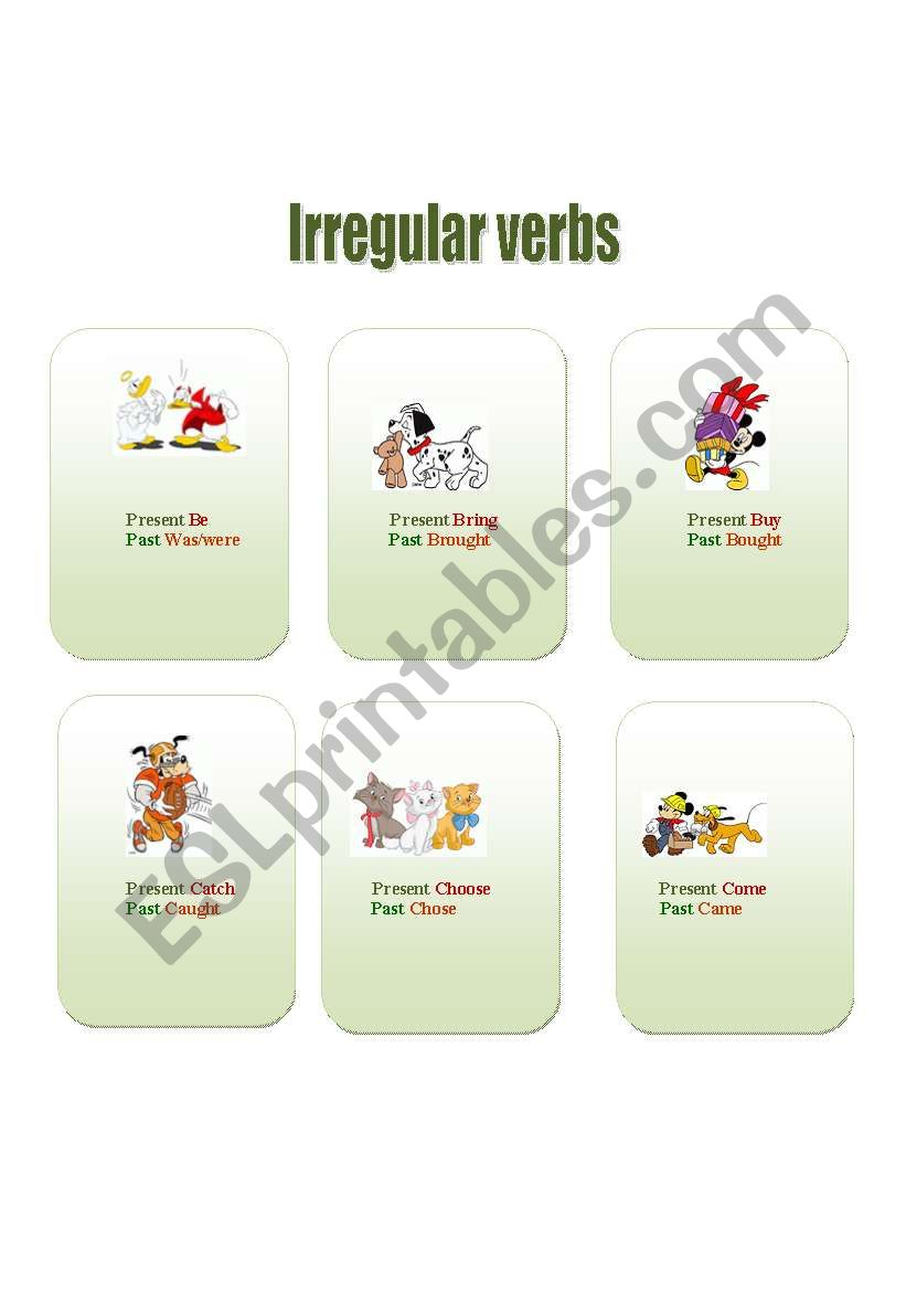 Cards to make irregular verbs easy